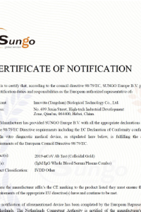 SUNG Europe BV Test Certificate